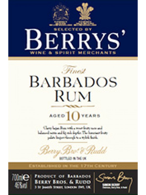 Berry Bros and Rudd Own Selection Barbados Rum 10 år 46% 70cl-30