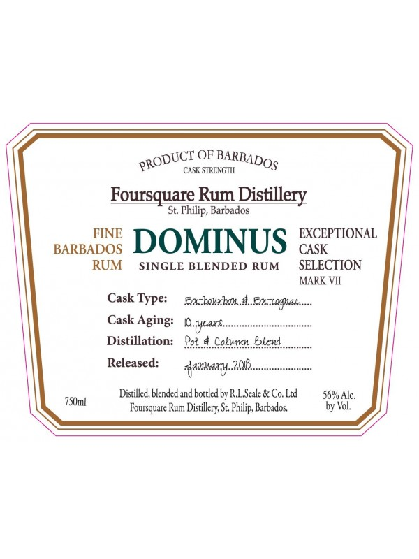 Foursquare Dominus Single Blended Rum 10 år
