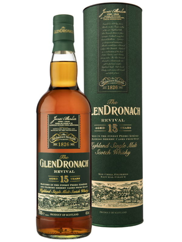 GlenDronach Revival 15 års single malt whisky