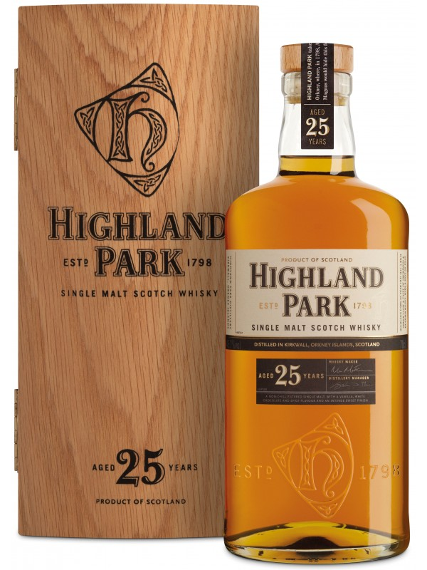 Highland Park Single Malt 25 års whisky i trækasse