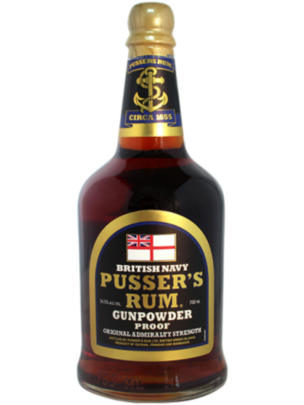 Pussers British Navy Gunpowder Proof Rum 54,5% 70cl Black Label Rom fra Guyana-30