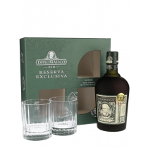 Diplomatico Reserva Exclusiva rom gaveæske med 2 glas