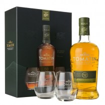 Tomatin 12 år Single Malt Highland Scotch Whisky Gaveæske med 2 glas