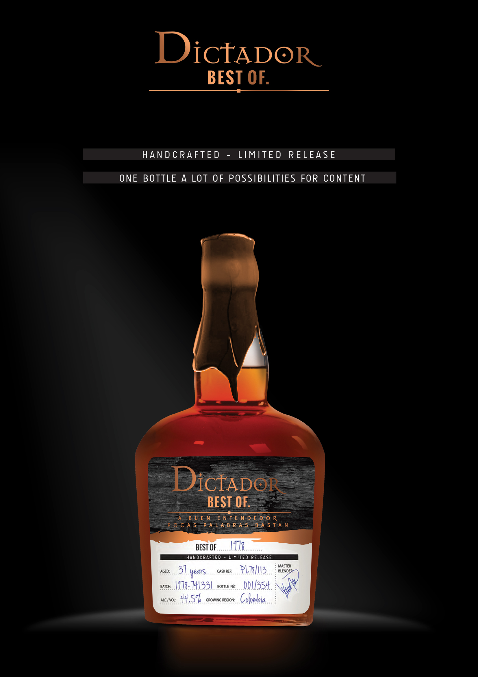 Dictador best of 1978 rum 44 5 70cl rom fra colombia